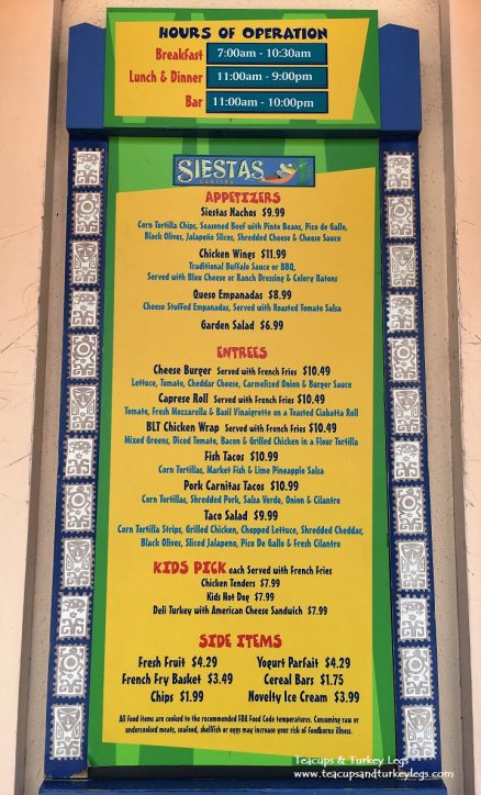 Menu at Siestas Cantina, Disney's Coronado Springs Resort